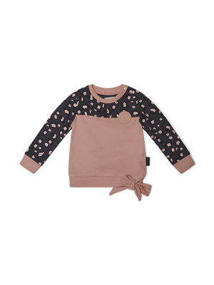Girls sweater with leopard print and bow