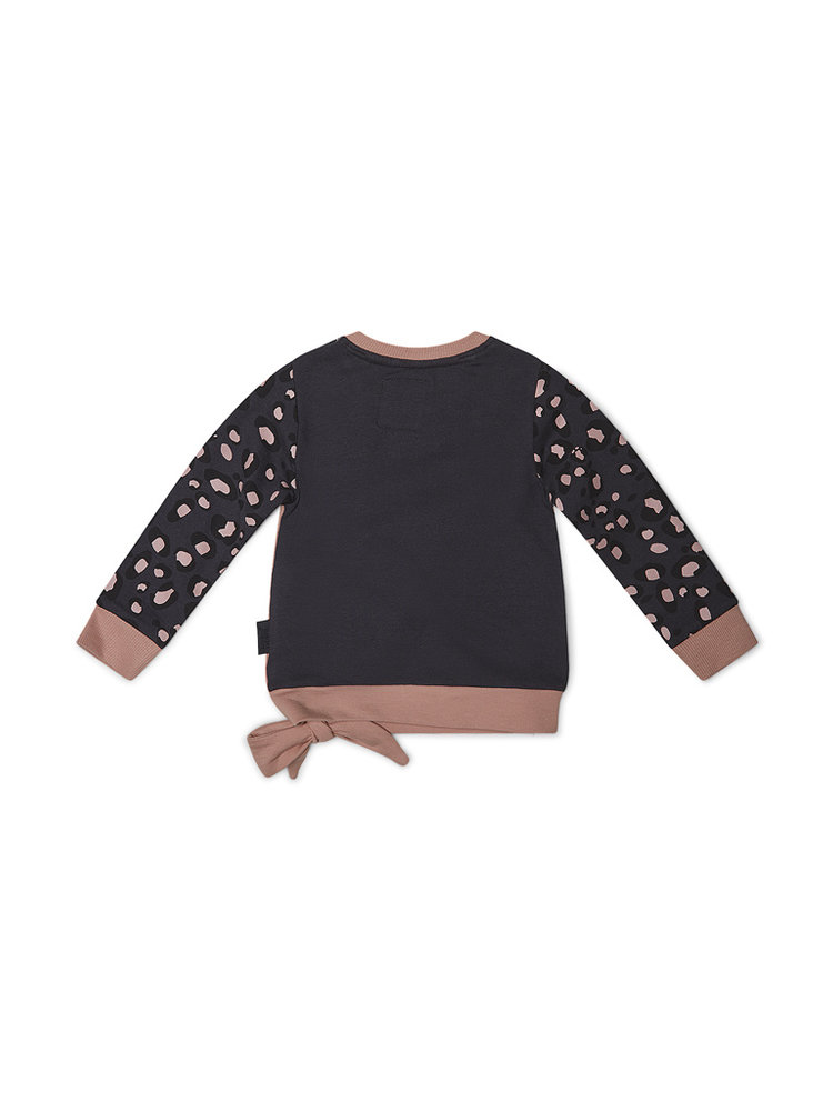 Girls sweater with leopard print and bow | 37B-32945B2C