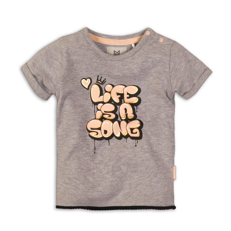 Girls T-Shirt gray with print | 37C-34953