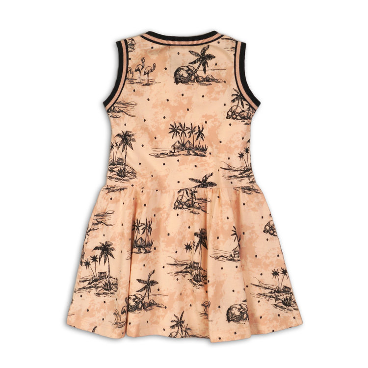 Girls dress pink with palm print | 37C-34949
