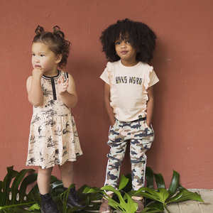 Girls dress pink with palm print