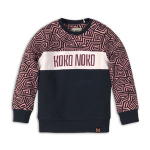 Girls sweater pink with navy