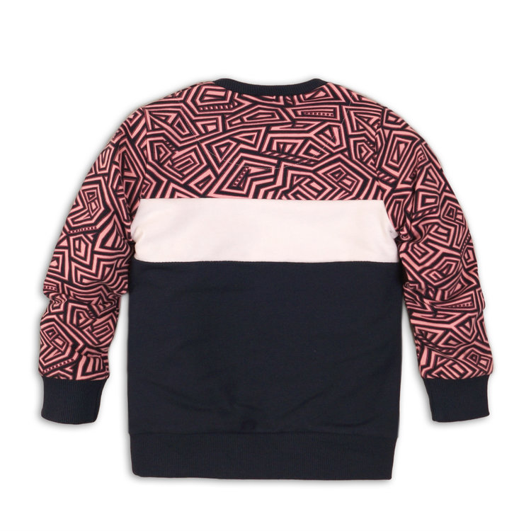 Girls sweater pink with navy | 37C-34902