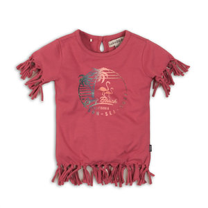 Girls T-shirt pink with frills