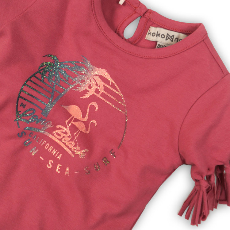 Girls T-shirt pink with frills | 37C-34910