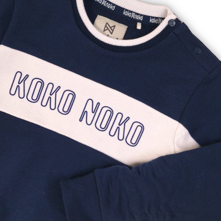 Boys sweater navy with logo print | 37C-34861