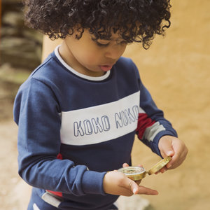 Boys sweater navy with logo print