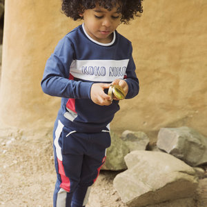 Boys jogging pants navy with stripe