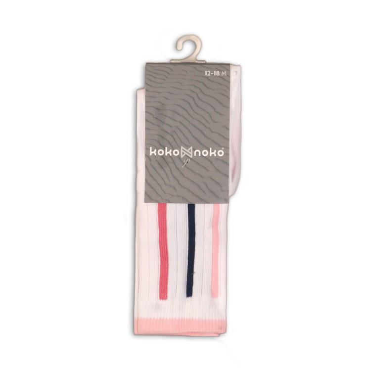 Girls socks white with pink and blue stripe | 37C-34906