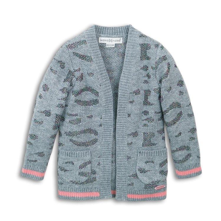 Strickjacke für Mädchen Grau mit Glitzer   D36947-37