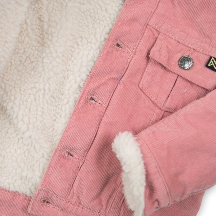 Girls rib pink jacket with teddy lining | D36936-37