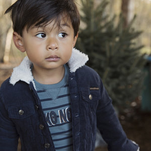 Boys jacket rib blue with teddy lining