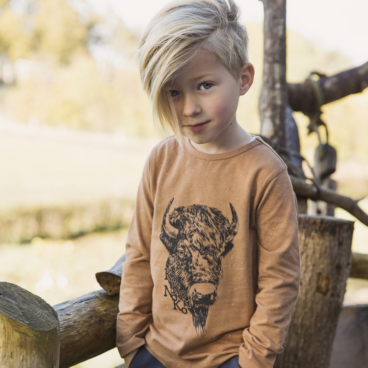 Boys shirt camel with print | D36813-37