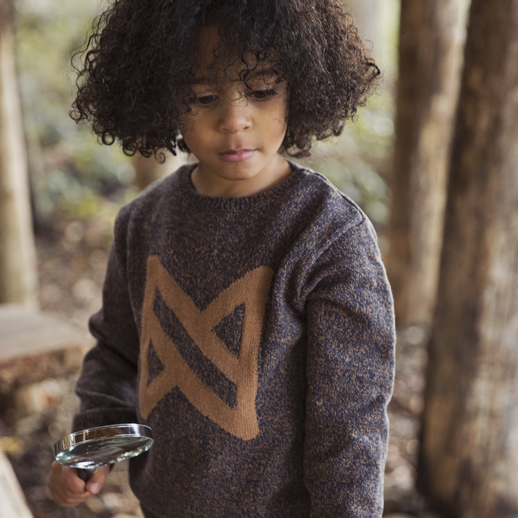 Boys sweater blue with camel | D36816-37