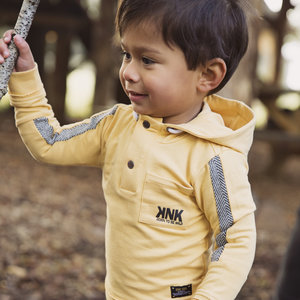 Boys sweater ocher yellow with hood