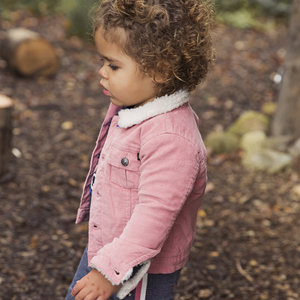 Girls rib pink jacket with teddy lining
