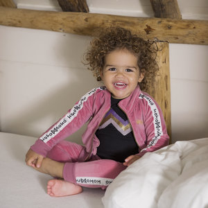 Girls vest pink velor
