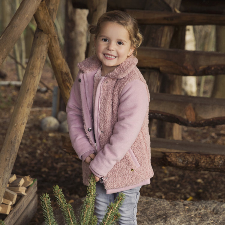 Girls jacket pink with teddy | D36976-37