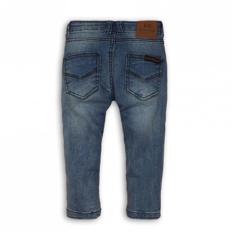 Koko Noko jongens jeans blauw met bruin label | E32806-37WHS