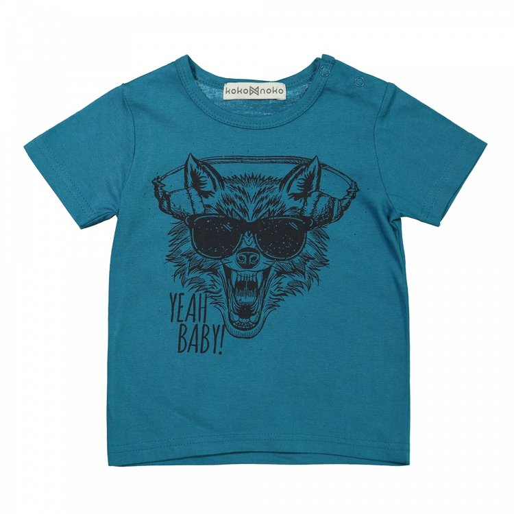 Koko Noko jongens T-shirt zeegroen | X00021-37