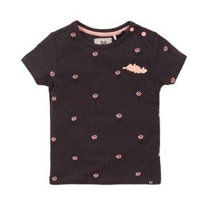 Koko Noko meisjes T-shirt donker grijs roos