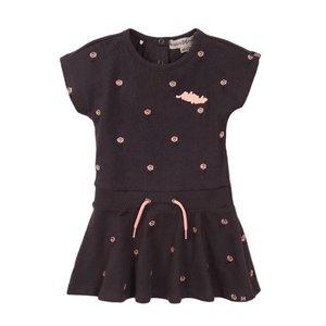 Koko Noko meisjes jurk donker grijs roos