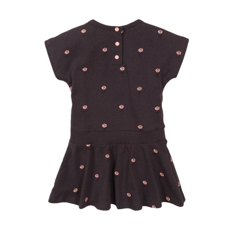 Koko Noko meisjes jurk donker grijs roos | E38903-37