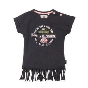 Koko Noko meisjes T-shirt donker grijs franje