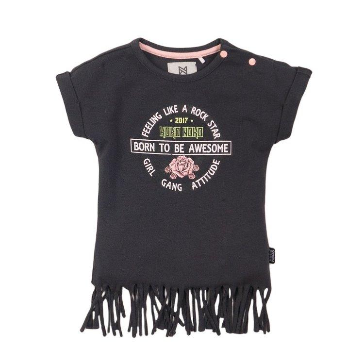 Koko Noko girls T-shirt dark grey frills | E38904-37