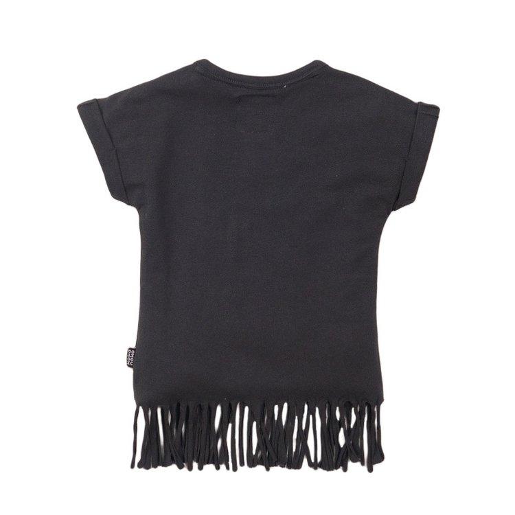 Koko Noko Mädchen-T-Shirt dunkelgrau Fransen | E38904-37