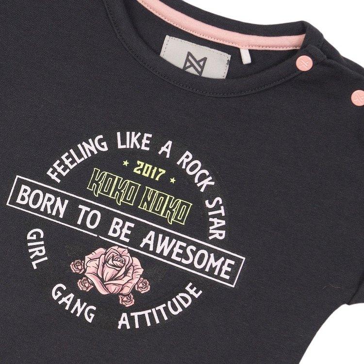 Koko Noko meisjes T-shirt donker grijs franje | E38904-37