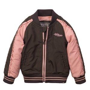 Koko Noko girls jacket dark grey pink