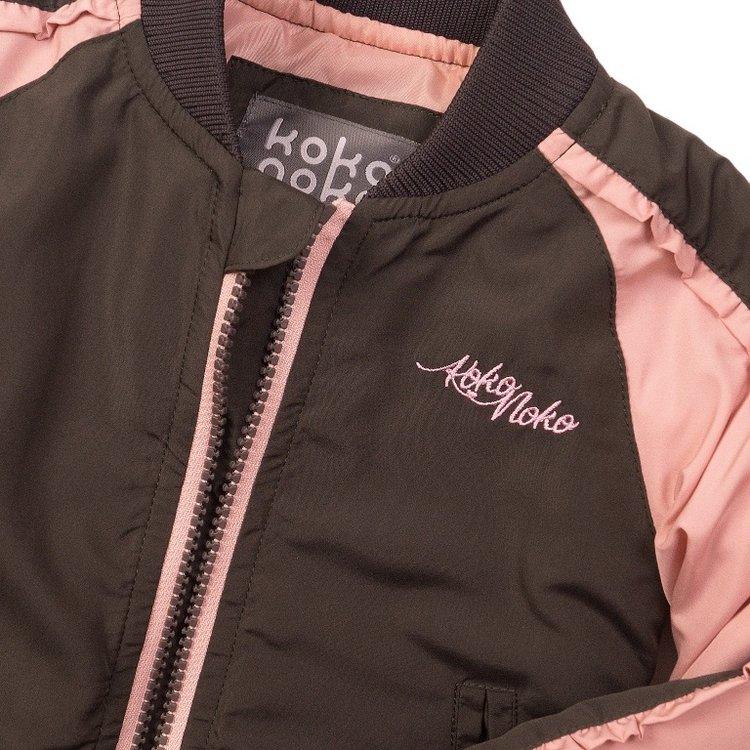 Koko Noko meisjes jas donker grijs roze | E38915-37