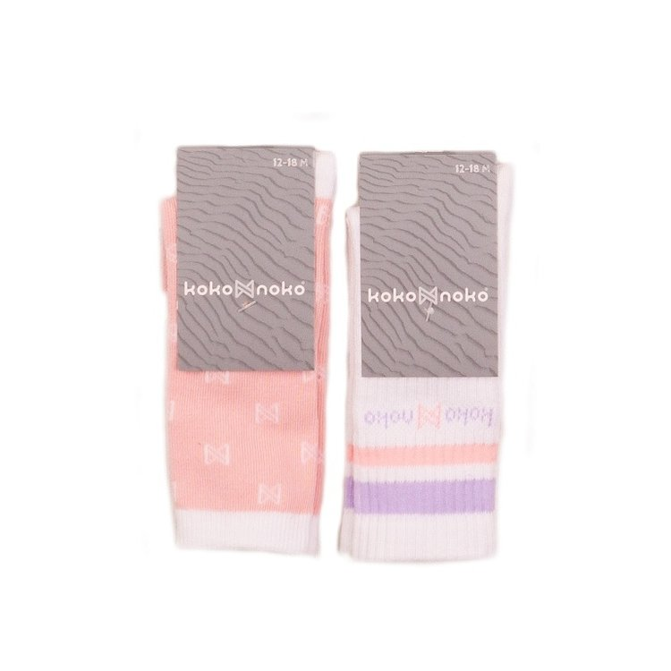 Koko Noko Mädchen Socken 2er Pack weiß rosa | E38926-37