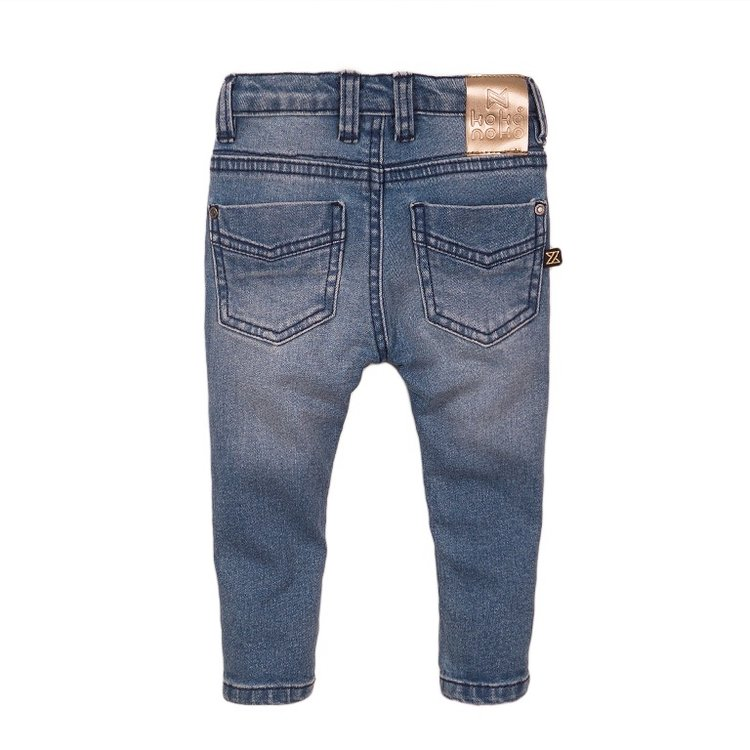 Koko Noko meisjes jeans blauw met rosé label | E38938-37