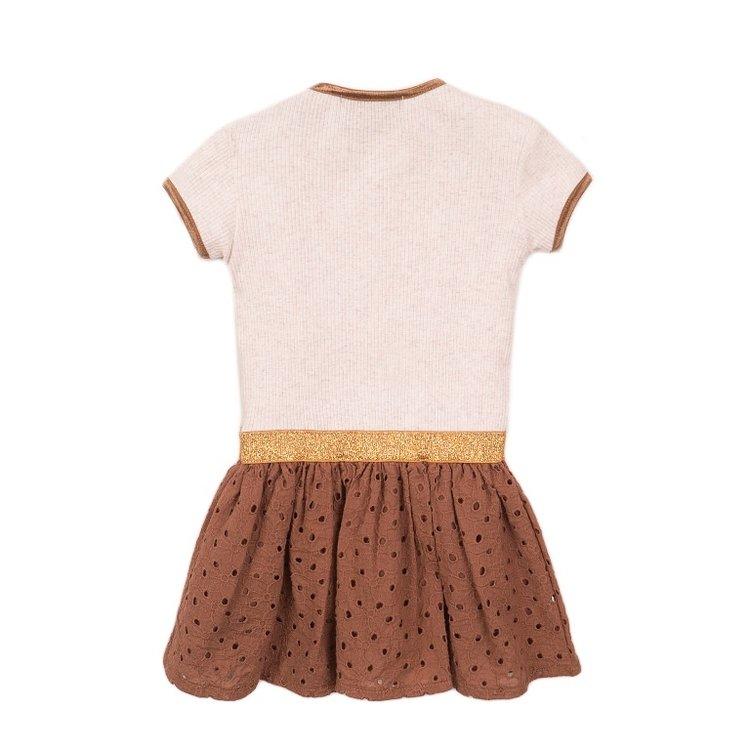 Koko Noko meisjes jurk beige camel   E38946-37
