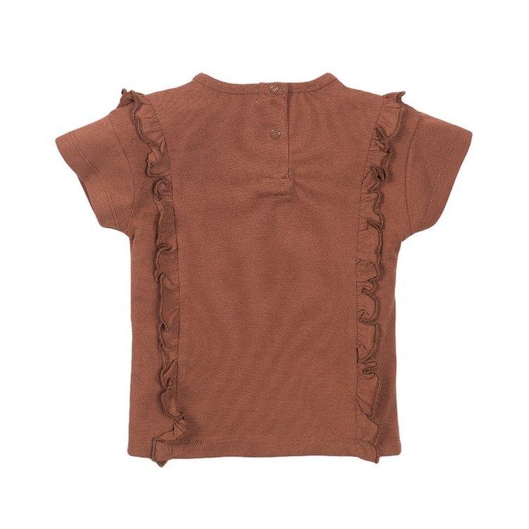 Koko Noko meisjes T-shirt camel ruches   E38947-37