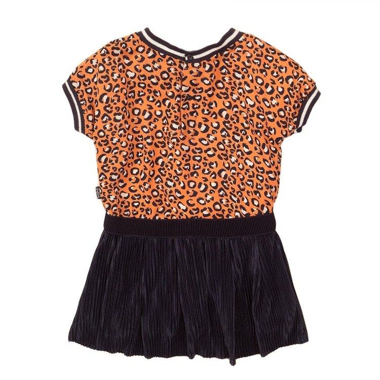 Koko Noko meisjes jurk oranje navy | E38958-37