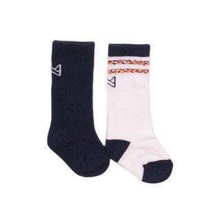Koko Noko girls socks 2-pack navy and white