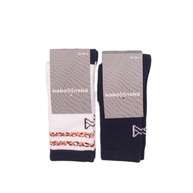 Koko Noko meisjes sokken 2-pack navy en wit | E38959-37