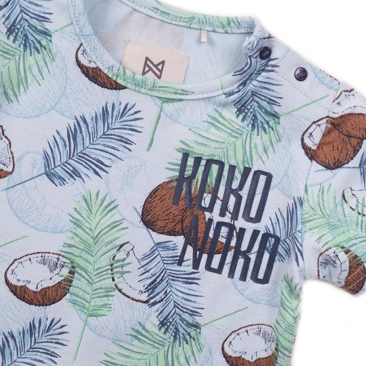 Koko Noko jongens T-shirt licht blauw print | E38800-37