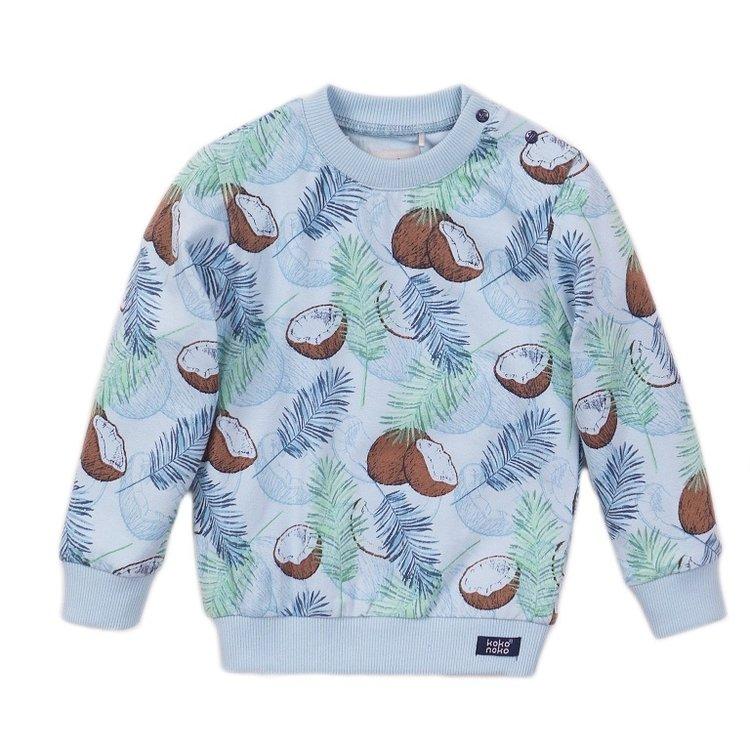 Koko Noko jongens sweater licht blauw print | E38804-37