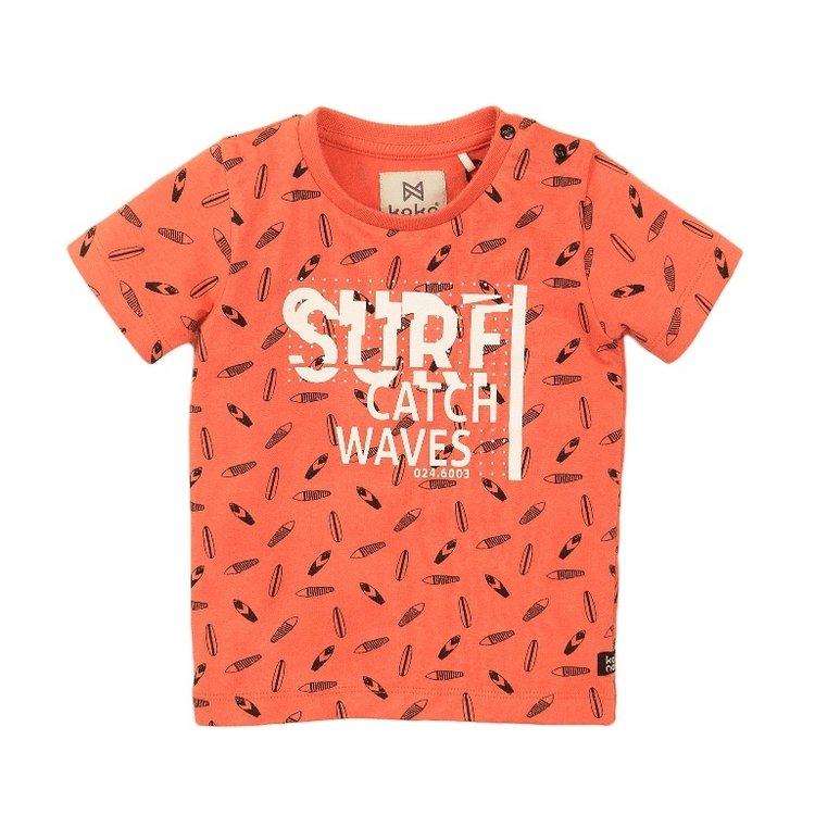 Koko Noko jongens T-shirt oranje print   E38806-37