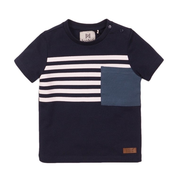 Koko Noko jongens T-shirt navy streep | E38817-37
