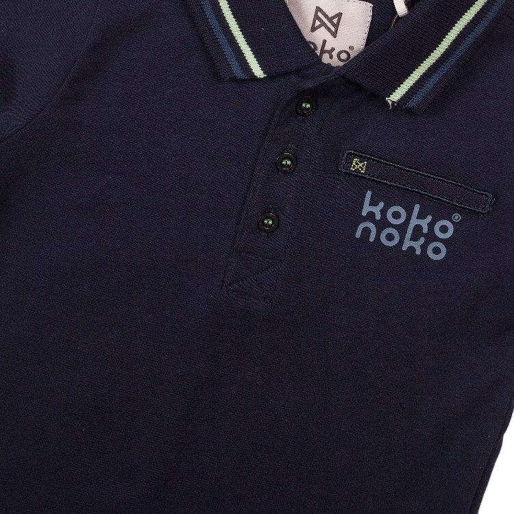 Koko Noko jongens poloshirt navy | E38819-37