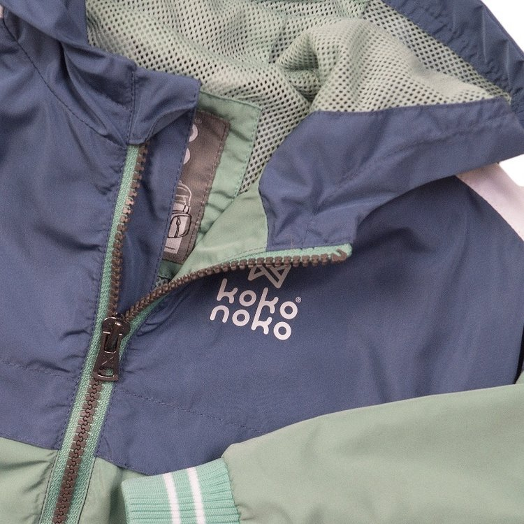 Koko Noko Jungen Jacke blau grün mit Kapuze | E38822-37