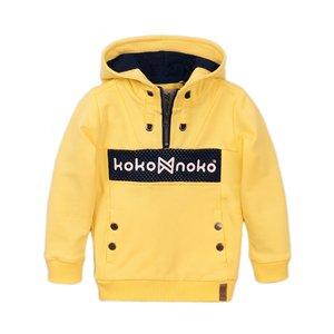Koko Noko jongens sweater geel met capuchon