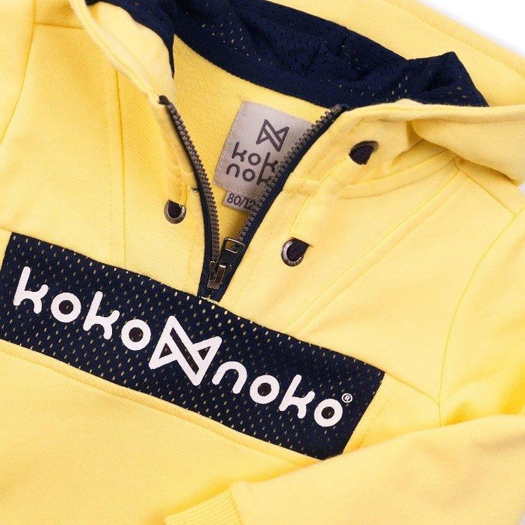Koko Noko jongens sweater geel met capuchon | E38830-37