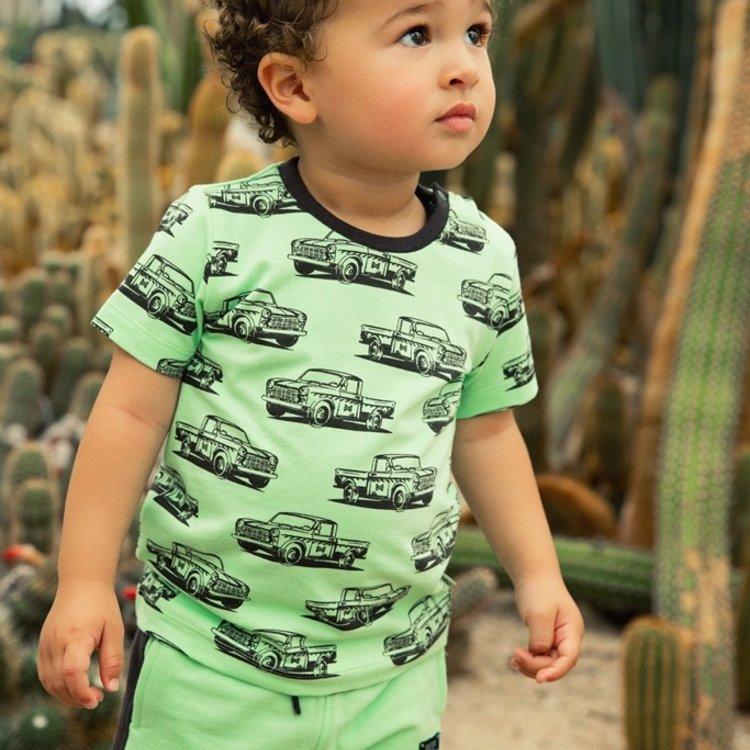 Koko Noko jongens T-shirt groen print | E38844-37