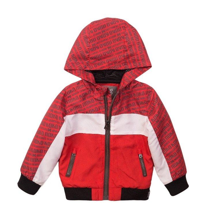 Koko Noko jongens jas rood met capuchon | E38852-37